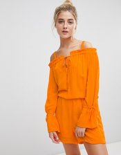 Noisy May Cold Shoulder Romper-Orange