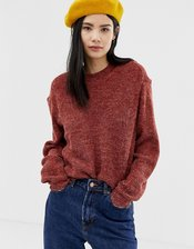 Ichi Fluffy Sweater-Red