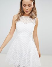 Zibi London Crochet Skater Dress-White