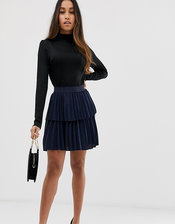 Y.A.S Petite Pleated Tiered Skirt-Navy