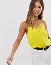 JDY lace trim cami top in yellow-Green