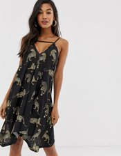 ASOS DESIGN tab front swing mini sundress in jaguar print