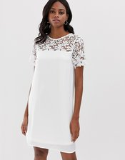 Vila lace yoke shift mini dress-White