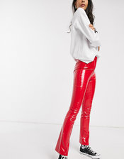 Wild Honey high waist pants in faux leather-Red