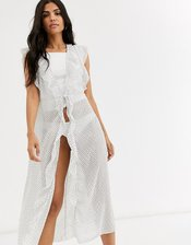 Cotton On Body ruffle gown in polka dot-White